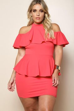 A stunning plus size cocktail dress that will have all eyes on y-o-u. Features a halter neckline, cold shoulders, and statement flounce layer. Made with an equally stunning peplum waist and curve-hugging mini skirt. Keyhole back with a dual button closure at the nape.