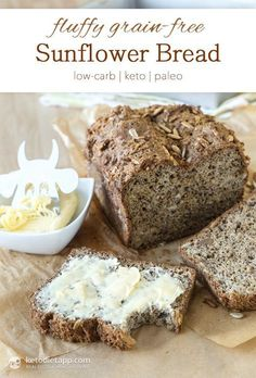 This sounds delicious! I love nutty bread! Fluffy Grain-Free Sunflower Bread from the KetoDiet Cookbook (low-carb, keto, paleo) Carb Free Bread, Grain Free Bread, Lowest Carb Bread Recipe, Low Carb Bread, Low Carb Keto, Sprouted Grain Bread, Gluten Free Recipes, Low Carb Recipes, Bread Recipes