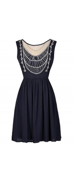 Throw A Net Beaded Dress in Navy  www.lilyboutique.com
