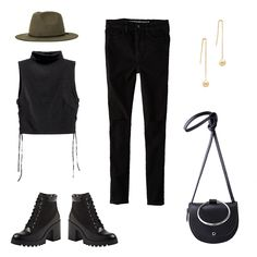 All Black - There's always something chic about head-to-toe black—a lace-up bootie, gold drop earrings and a neutral-toned hat lend a bit more dimension.