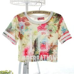 Hot Sexy Women Pattern Print Stylish Short T-shirt Tops Blouse