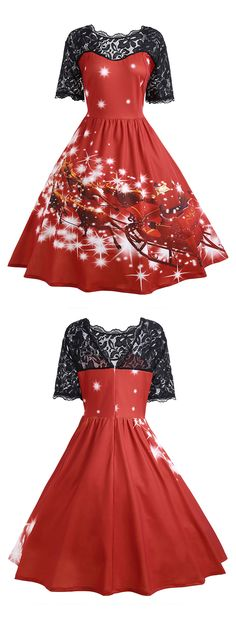 Free Shipping Worldwide!Tea Length Christmas Party Dress features scoop neck with scalloped detail, lace panel on shoulder with v-back cut. Classic Christmas Santa Claus with his deer sleigh pattern printed.