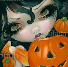 Faces of Faery 200 halloween pumpkin candy corn big by strangeling, $13.99
