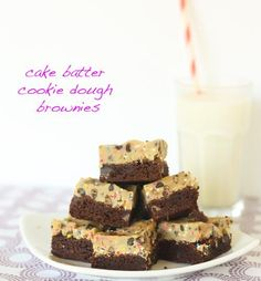 Cake Batter Brownies | Cookie dough makes everything taste better.  These brownies are a guaranteed crowd pleaser. @couldntbeparve