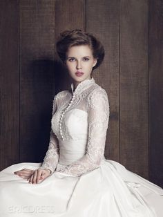 Classical A-Line High Neck Long Sleeves Custom Made Wedding Dress Wedding Dresses 2014- ericdress.com 8889352