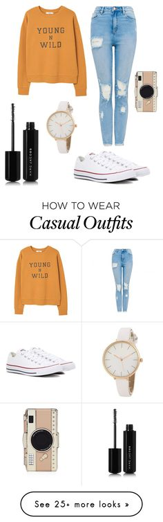 """Casual Fall Day"" by ghostgifts on Polyvore featuring MANGO, Converse, Kate Spade and Marc Jacobs"