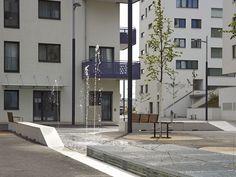 Hermine Dasovsky-Platz & Susanne Schmida-Gasse by DnD Landscape Planning « Landscape Architecture Platform Landscape Plans, Landscape Architecture, Contemporary Landscape, Plan Design, Water Features, Vienna, Yard, Mansions, House Styles