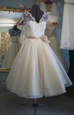 Vintage New Tea Length V Neck White/Ivory Lace Wedding Dress Custom All Size