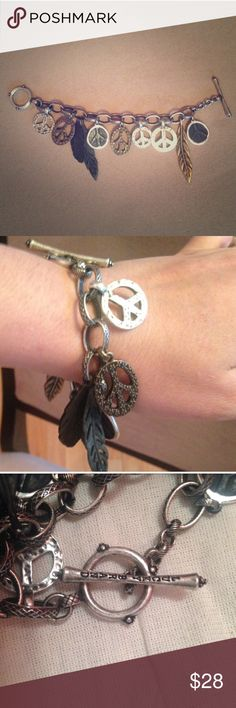 Lucky brand Peace & feather bracelet Brand new, without box or tags. Perfect condition. Lucky Brand Jewelry Bracelets