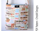 Cross the Body Hipster Pattern PDF for Sewing a handbag, Designer bag with adjustable strap and specially designed iPad Pocket