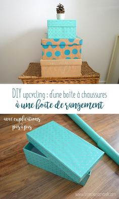 box shoe-storage-diy by elianeslb Diy Shoe Storage, Craft Storage, Web Box, Diy Rangement, Diy Organisation, Carton Box, Decoupage Box, Paper Gift Bags, Covered Boxes
