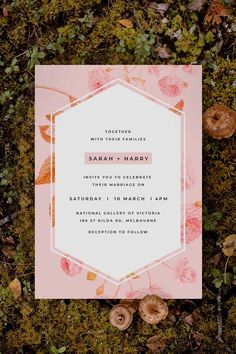 Stunning blush botanical Wedding Invitation by Sail and Swan Studio. The design features a modern layout with blush pink botanicals, flowers and leaves in the background.