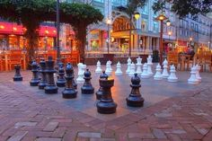 A giant chess set, minus the psychedelic drug trip