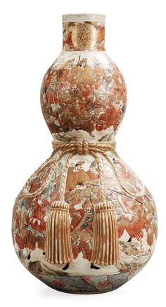 A large Japanese Satsuma vase, Meiji period.