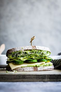 Herbed Avocado Green Goddess Sandwiches with Dill Havarti, Cucumbers, & Zucchini ribbons