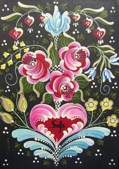 Polish Folk Art Pintura Country, Folk Art Flowers, Flower Art, Painting Flowers, Flower Fairies, Norwegian Rosemaling, Polish Folk Art, Tole Painting Patterns, Arte Popular