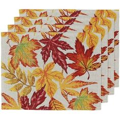 Fall Placemats Set Of 4 – Woven Placemats For Dining Table, Harvest Maple Leaf Placemats For Fall, Autumn And Thanksgiving Decorations