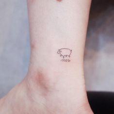 Lamb Tattoo, Sheep Tattoo, Beauty Logo, Beauty Art, Small Tats, Minimal Tattoo, Minimalist Tattoos, Diy Tattoo, Sister Tattoos