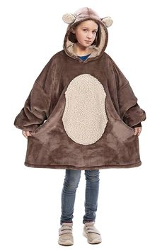 Bear Oversized Sherpa Hoodie Blanket Sweatshirt,Super Soft Warm Comfortable Cute Giant Pullover with Large Front Pocket for Boys Girls Teens Children Youth,Xmas Gift