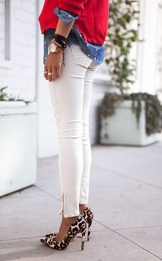 white jeans, leopard heels, and chambray