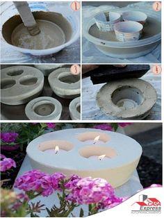 Haz fácilmente porta velas de yeso o cemento para decorar tu hogar o jardín.                                                                                                                                                                                 Más