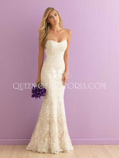 Strapless, curve-emphasizing and beautifully subtle, this sweetheart chic mermaid lace wedding gown is a dream come true.