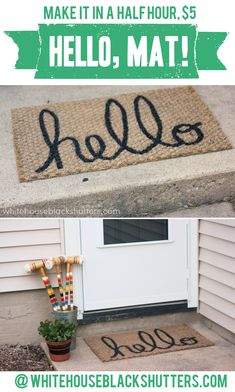 Hello Welcome Mat - white house black shutters