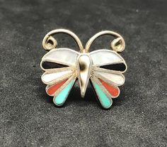 Vintage Old Pawn Sterling Silver Zuni Inlay Butterfly Ring