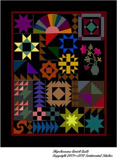 Interesting Amish style quilt.  I can't decide if I like it or if it just looks cluttered and like a hodge podge of blocks.