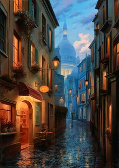 The top photos and paintings are of Montmartre in typical street scenes of Paris in the A narrow street in Montmartre, The . Environment Concept Art, Environment Design, Fantasy World, Fantasy Art, Art Et Illustration, Wow Art, Fantasy Landscape, City Landscape, Ireland Landscape