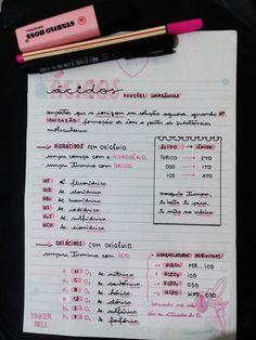 ácidos / funções inorgânicas / nomenclatura Homework Motivation, Study Motivation, Mental Map, Bullet Journal Banner, Study Organization, Study Pictures, Lettering Tutorial, School Notes, Study Hard