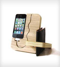 Light Wood iPhone Docking Valet