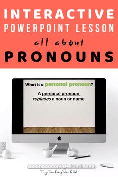 Pronoun Activities, Pronoun Worksheets, First Grade Worksheets, English Grammar Worksheets, English Speech, English Grammar For Kids, English Games, Personal Pronoun, Powerpoint Lesson
