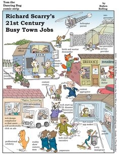 "A Tom the Dancing Bug comic strip. ""Richard Scarry's Century Busy Town Jobs"" is published by Ruben Bolling in The Nib."