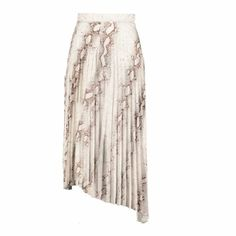 Untamed Pleaded Midi Skirt - Natural Python