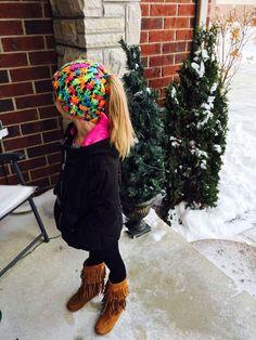 Ponytail Hat, Child Messy Bun Beanie, Winter Hat, Crochet Ski Cap,Neon Dancers Hat,Warm Hat, Ponytail Snow Hat by TheFlyButterFactory on Etsy