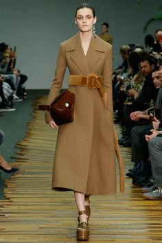 Céline F/W 2014, long coat, fur belt, brown pouch, platform sandals
