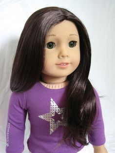 Image result for american girl doll green eyes brown hair custom