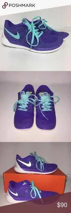 Nike Free Running Shoes Brand New without box. Great Nike free shoes with purple and teal design. Perfect for a lift or run. No trades Nike Shoes Athletic Shoes