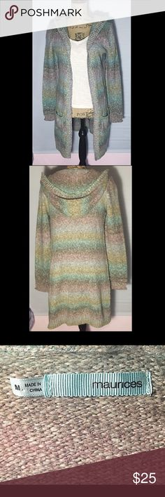 Maurices Long Hooded Open Sweater Size Medium Super cozy long sleeve hooded Maurices sweater, pastel colors, Size Medium, knee length, open front, pocket on each front side, heavier sweater that's perfect for those cooler rainy spring days!  Maurices Sweaters Cardigans