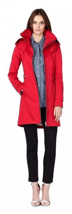 MAELY | Classic slim fit coat with funnel neck and hood | Cherry | For Women | SOIA & KYO