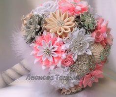 Wedding Bouquet brooch bouquet Geneva Pink White Ivory by LIKKO