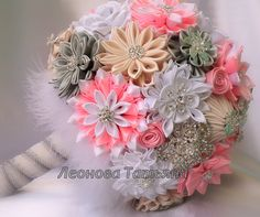 Wedding Bouquet brooch bouquet Geneva Pink White Ivory by LIKKO