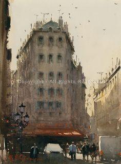 Paris, Afternoon - Watercolor by Joseph Zbukvic