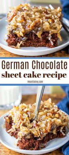 Homemade German Chocolate Cake, German Chocolate Cookies, Chocolate Caramel Cake, Easy Chocolate Desserts, Chocolate Cake Recipe Easy, Moist Coconut Cake Recipe, Caramel Cakes, Chocolate Recipes, Sheet Cake Recipes