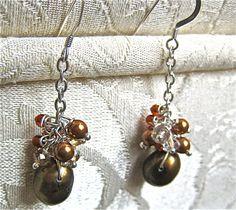 pearl cluster dangle gemstone and crystal earrings by KsaDesigns, $18.98