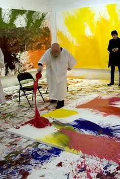 cavetocanvas:  Hermann Nitsch working on Painting Action, 2011
