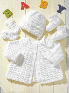 Baby Knitting Patterns Cardigan Baby Knitting Pattern Cardigan Hat Mittens by WoollybackEwe A PDF copy of my vintage pattern, gorgeous set for a new born and up to 12 months. The pattern starts as 14 chest size so would be ideal for a premature baby or re Baby Knitting Patterns Free Newborn, Baby Cardigan Knitting Pattern Free, Baby Sweater Patterns, Baby Patterns, Free Knitting, Layette Pattern, Crochet Baby Clothes, Knit Baby Shoes, Vintage Knitting