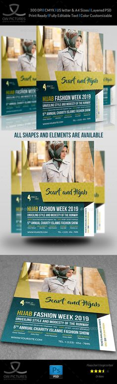 Hijab Fashion Flyer Template — Photoshop PSD #event #lounge • Available here → https://graphicriver.net/item/hijab-fashion-flyer-template/17239819?ref=pxcr