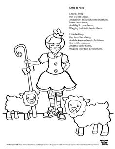 Girl outside school coloring page busy kids for Little bo peep coloring pages